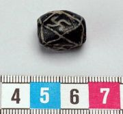 An original Norse glass bead found at Södermanland. From the Swedish National Historical Museum, Artifact # 549757 SHM 34976.A251 (FA251).